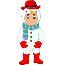 cute boy cartoon with snowman costume vector image vector image