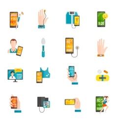 Digital health flat icons vector