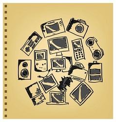 Doodle gadget icon set vector image