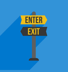 Enter and exit sign post flat design vector