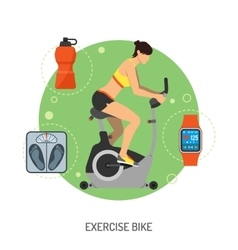 Exercise Bike and Fitness Concept vector image vector image