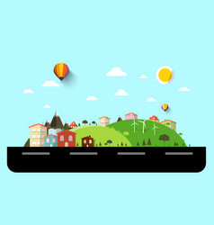 Flat design landscape with street vector