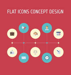 Flat icons portfolio calendar libra and other vector