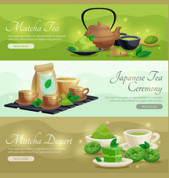 Green matcha tea horizontal banners vector