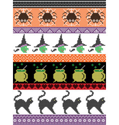 Halloween pattern with spider spider web witch vector