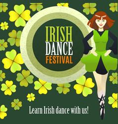 Irish dance festival template in cartoon style vector