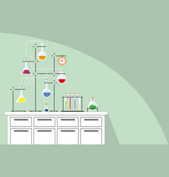 Laboratory equipment with test tubes background vector