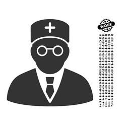 Main physician icon with professional bonus vector