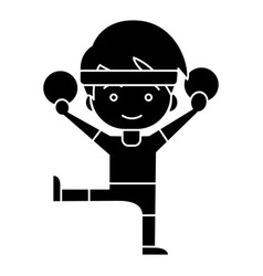 man aerobics - workout - gymnastics rings icon vector image