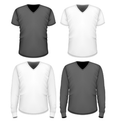 Men t-shirt v-neck short and long sleeve vector image vector image