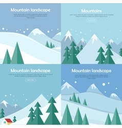 Mountains landscape banners set mountaineering vector