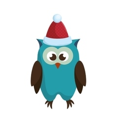 Owl with christmas hat vector