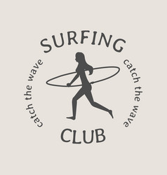 surfing club logo or symbol design with running vector image vector image
