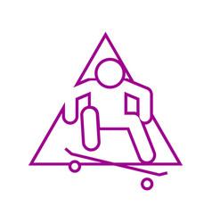Triangle shape skateboard ollie sport outline vector