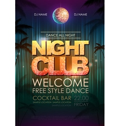 Typography disco background night club poster vector