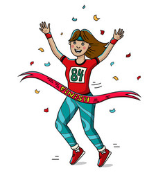 woman runner cross the finish line cartoon style vector image