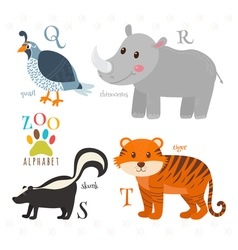Zoo alphabet with funny cartoon animals Q r s t vector image