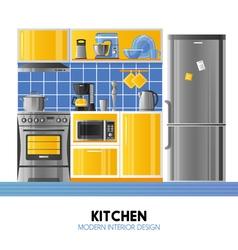 Kitchen modern interior design vector