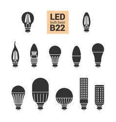 Led light b22 bulbs silhouette icon set vector