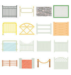 Different fencing icons set cartoon style vector