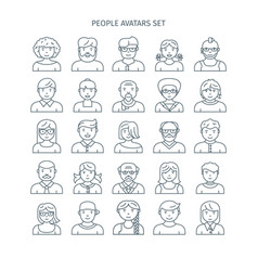 Thin line people avatars vector