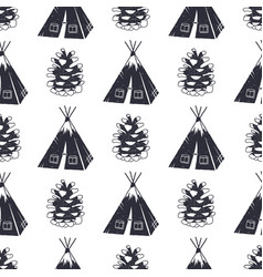 Vintage hand drawn camping and forest pattern vector