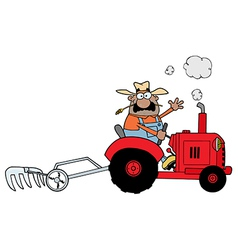 Farmer on tractor vector