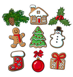Glazed homemade christmas gingerbread cookies vector