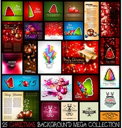 25 christmas background mega collection set vector