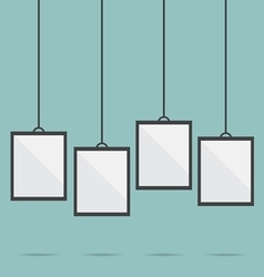 Blank picture frame template hanging vector