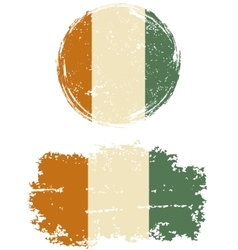 Cote d ivoire round and square grunge flags vector