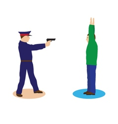 Criminal offender and police officer vector