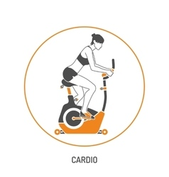 Exercise bike and fitness concept vector