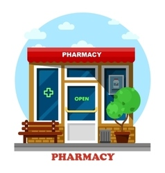 Pharmacy shop or store drugstore building vector