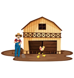 A man standing in front of the wooden barnhouse vector image vector image