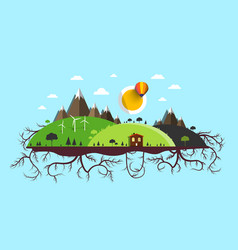 Abstract flat design landscape island with roots vector