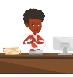 Angry business woman tearing bills or invoices vector image