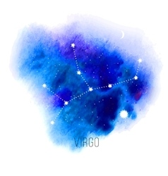 Astrology sign virgo on blue watercolor background vector