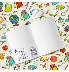 Back to school text in a notebook end vector image vector image