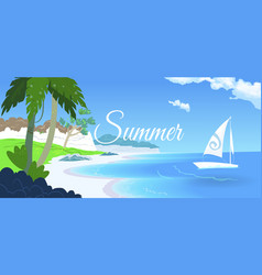 beautiful beach palm trees and boats on the beach vector image vector image