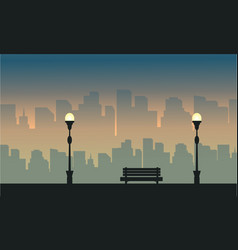 Big town silhouettes landscape with street lamp vector