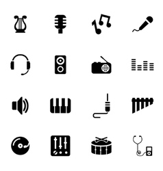 black music icon set vector image vector image