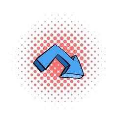 Blue arrow icon comics style vector