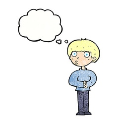 Cartoon curious man with thought bubble vector