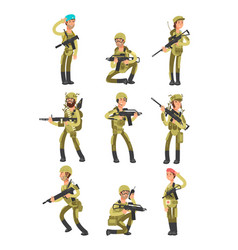 Cartoon soldiers in various actions military men vector