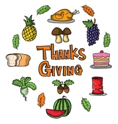 Cartoon thanksgiving set of doodles vector