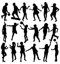 children silhouettes Set vector image vector image