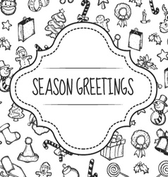 christmas card doodle vector image vector image