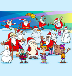 christmas cartoon characters group vector image