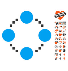 circular relations icon with lovely bonus vector image vector image